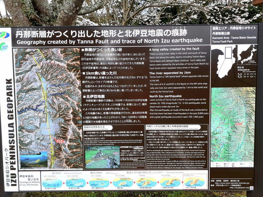 丹那断層の痕跡が残る地図
