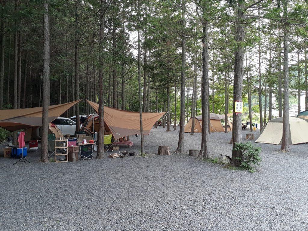 福士川オートキャンプ場、林間サイト区画