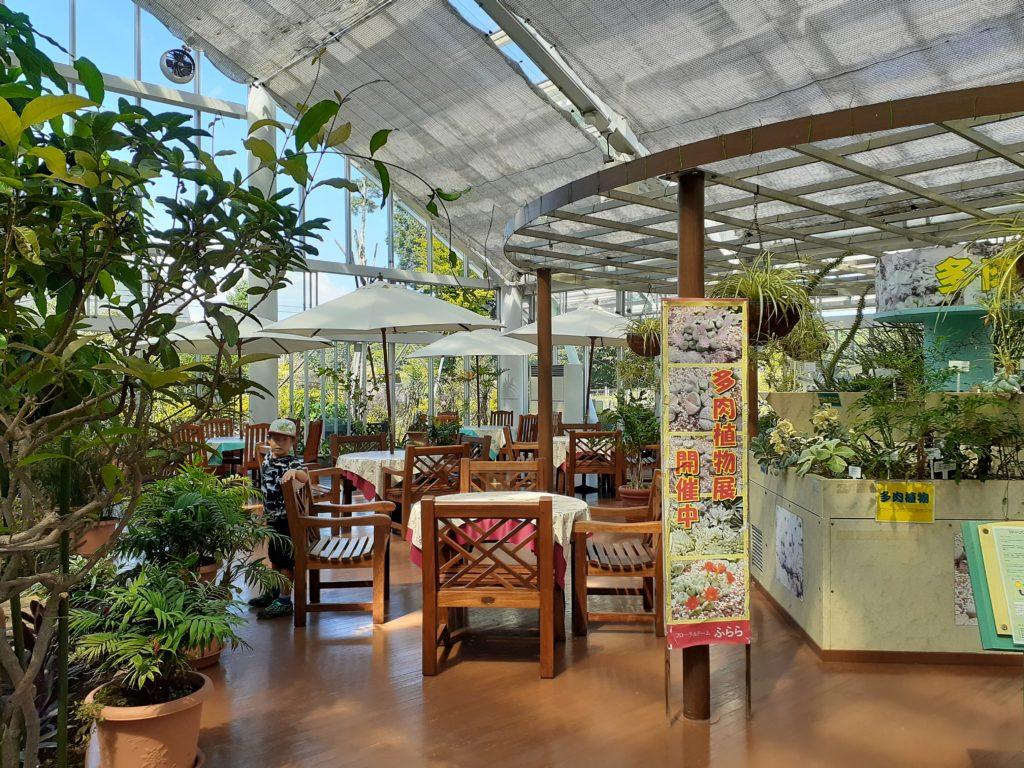 花の都公園 清流の里のフローラルドームの中のカフェ