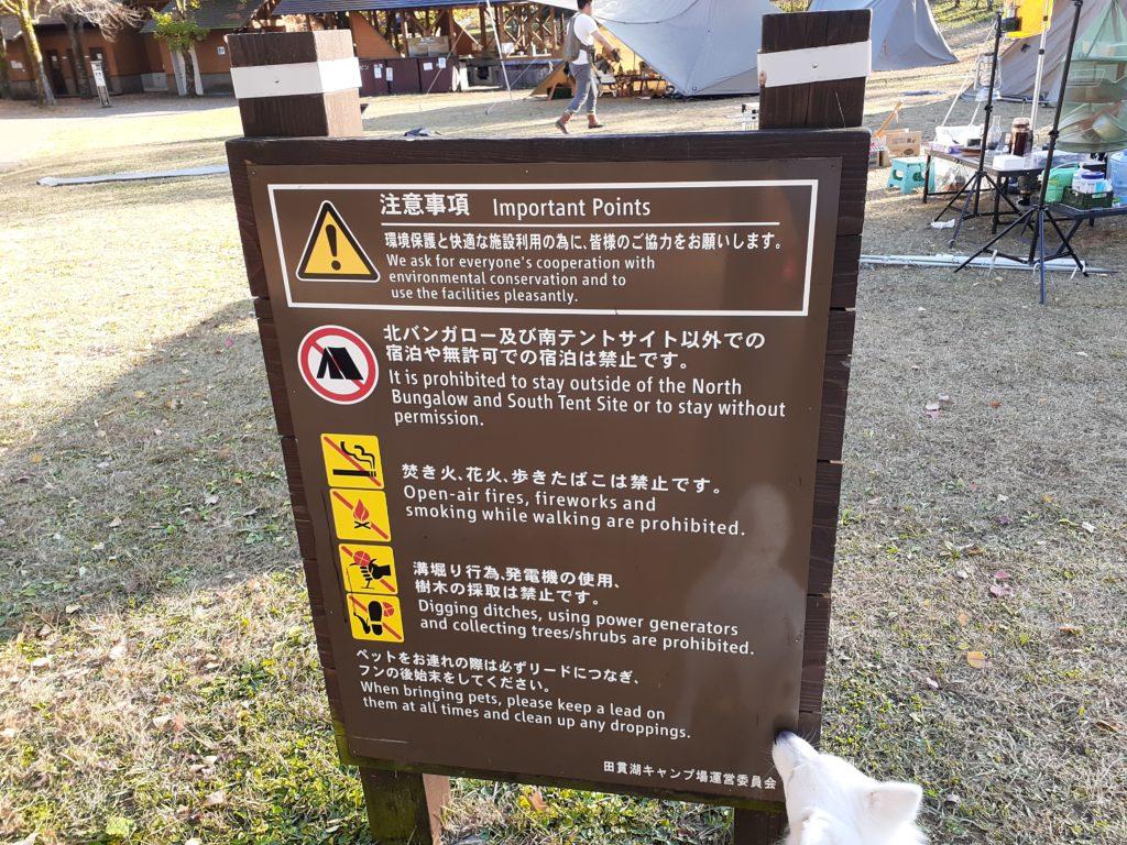 田貫湖キャンプ場 注意点
